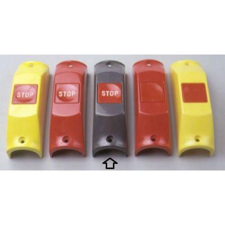 Przycisk STOP P105bis na poręcz śr. 35mm- obudowa szara RAL7043, przycisk czerwony RAL3000