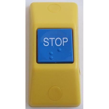 Przycisk STOP P167- obudowa zółta RAL 1018, przycisk niebieski RAL 5015
