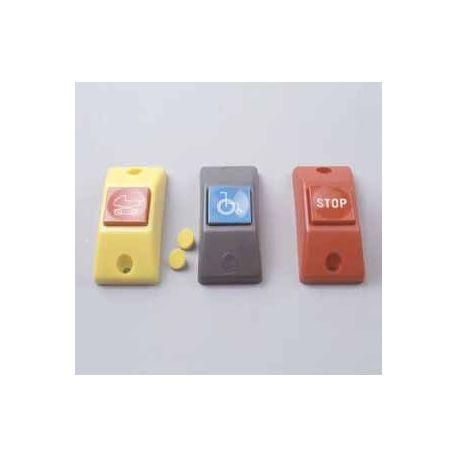 Przycisk STOP P167- obudowa szara RAL 7043, przycisk niebieski RAL 5015 + oznakowanie Braille'a