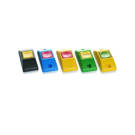 Przycisk STOP P167- obudowa niebieska RAL 5015, przycisk czerwony RAL 3000
